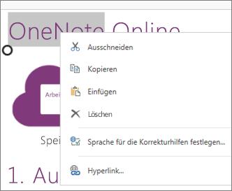 Kontextmenü in OneNote Online auf einem Gerät mit Touchscreen