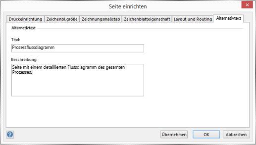 """Dialogfeld """"Alternativtext"""" für eine Seite in Visio."""