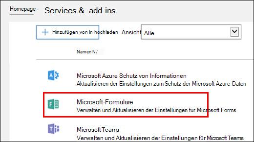 Microsoft Forms – Administratoreinstellungen