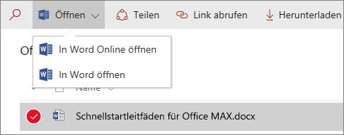 """Screenshot des Menüs """"Öffnen"""" in einer Dokumentbibliothek mit neuer Benutzeroberfläche"""