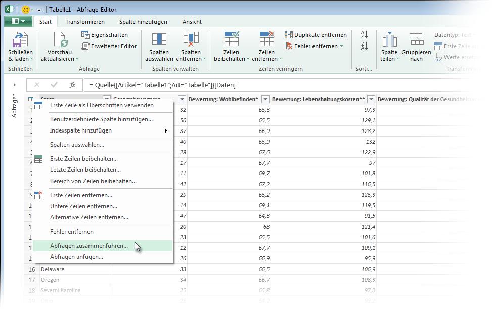 Zusammenführen von Abfragen (Power Query) - Excel