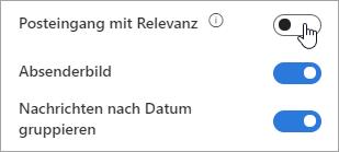 """Screenshot der Umschaltfläche """"Posteingang mit Relevanz"""""""
