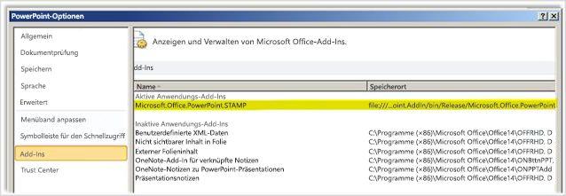 PowerPoint-Optionen, Bildschirm 'Add-Ins' mit hervorgehobenem STAMP-Add-In