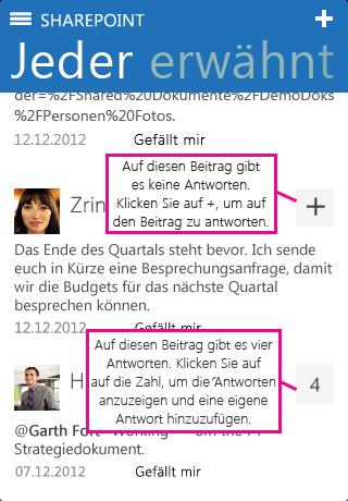 Screenshot der Anzahl der Antworten in der SharePoint Newsfeed-App für iOS