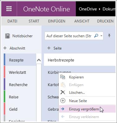 Screenshot zum Tieferstufen einer Seite in OneNote Online