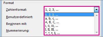 Das Nummerierungsformat für Fuß- und Endnoten auswählen