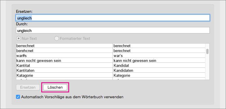 """Wählen Sie ein Element in der AutoKorrektur-Liste aus, und klicken Sie dann auf """"Löschen"""", um es zu entfernen."""