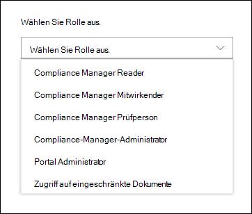 """Aktivieren Sie """"Rolle auswählen"""", um eine Liste der Compliance-Manager-Rollen anzuzeigen, denen Sie Benutzer hinzufügen können."""