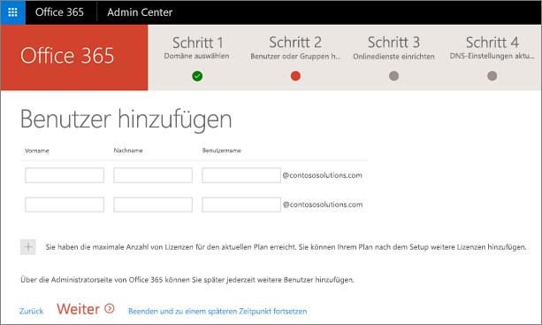 """Seite """"Neue Benutzer hinzufügen"""" im Assistenten für Domänen"""