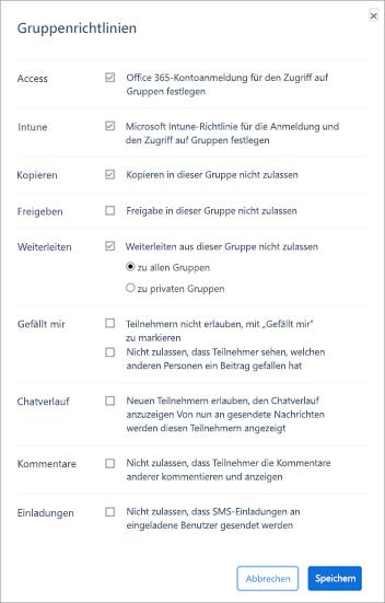 """Abschnitt """"Gruppenrichtlinie"""" im Kaizala-Verwaltungsportal"""