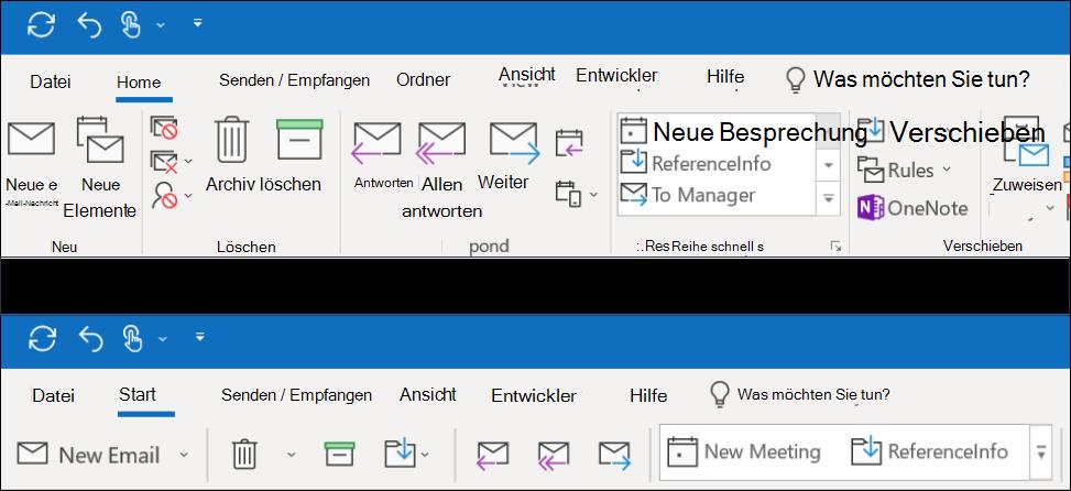 Sie können jetzt aus zwei unterschiedlichen Menüband-Erlebnissen in Outlook auswählen.