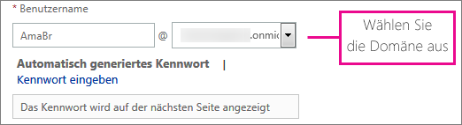 Select a domain from the drop down box.