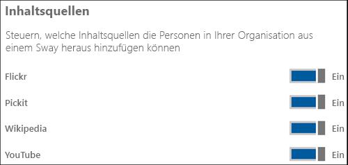 """Screenshot: Setzen Sie im Abschnitt """"Inhaltsquellen"""" die Schalter für die verschiedenen Inhaltsquellen auf """"Ein"""" oder """"Aus""""."""