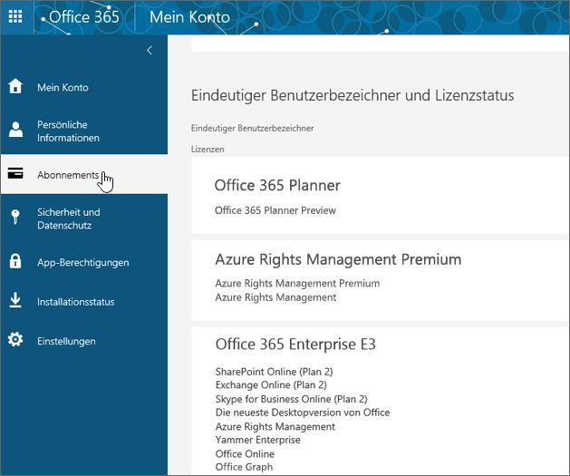 """Seite """"Office 365-Abonnements"""""""