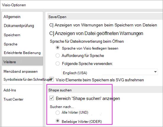 Visio-Optionen \ erweitert \ Shape-Sucheinstellungen