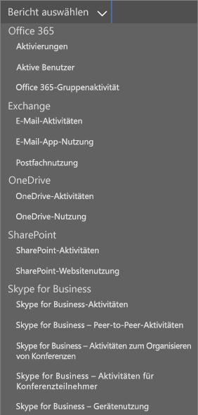 """Office 365-Berichte – Dropdownliste """"Verwendete E-Mail-Clients"""""""
