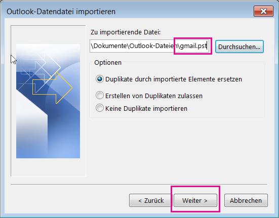 Wählen Sie die von Ihnen erstellte PST-Datei aus, damit Sie sie importieren können.