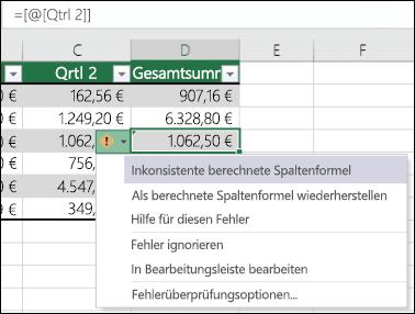 Fehlerbenachrichtigung über eine ungültige Formel in einer Excel-Tabelle