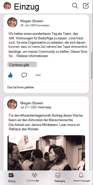 """Screenshot, der den Feed der App """"jammern IOS"""" zeigt"""