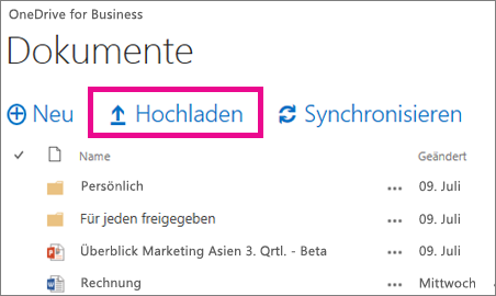 Befehl 'Hochladen' in OneDrive for Business