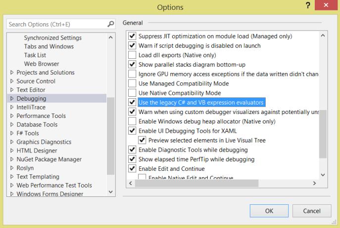 Aktivieren der älteren C# und VB Ausdrucks-Auswerter