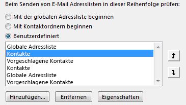Sie können mithilfe der Pfeile die Reihenfolge definieren, in der Outlook auf Ihre Adressbücher zugreift.