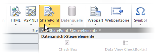 Menü 'SharePoint' im Menüband von SharePoint Designer 2010