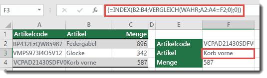 Wenn Sie bei einem Nachschlagewert, der größer als 255 Zeichen ist, INDEX/VERGLEICH verwenden, müssen diese als Matrixformel eingegeben werden.  Die Formel in Zelle F3 lautet =INDEX(B2:B4;VERGLEICH(WAHR;A2:A4=F2;0);0) und wird durch Drücken von STRG+UMSCHALT+EINGABE eingegeben.