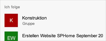 "Abschnitt ""Folgende Websites"" auf der Registerkarte ""Websites"""