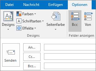 """Zum Aktivieren des Felds """"Bcc"""", öffnen Sie eine neue Nachricht, wählen Sie die Registerkarte """"Optionen"""" aus, und wählen Sie dann in der Gruppe """"Felder anzeigen"""" die Option """"Bcc"""" aus."""