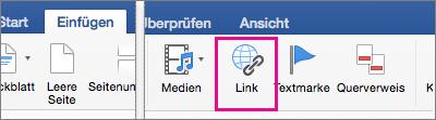 """Auf der Registerkarte """"Einfügen"""" ist """"Link"""" hervorgehoben."""