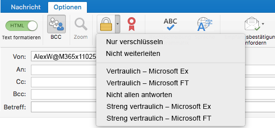 """Neue Verschlüsselungsoption mit Unterstützung von Office 365-Nachrichtenverschlüsselung, """"Nicht weiterleiten"""" und IRM-Vorlagen"""