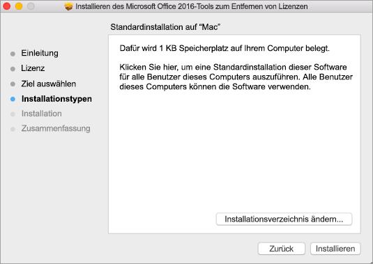 """Klicken Sie im Tool auf """"Installieren"""", um Lizenzen zu entfernen."""