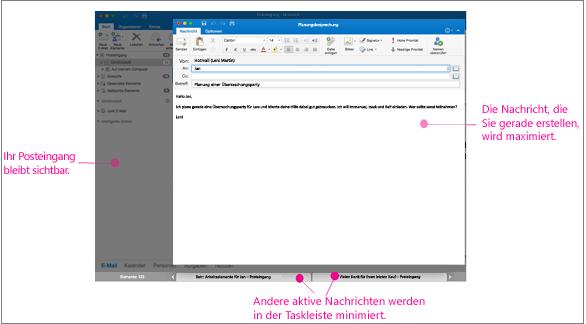 Vollbildansicht mit aktiver Nachricht, Posteingang und Registerkarten auf der Taskleiste unten