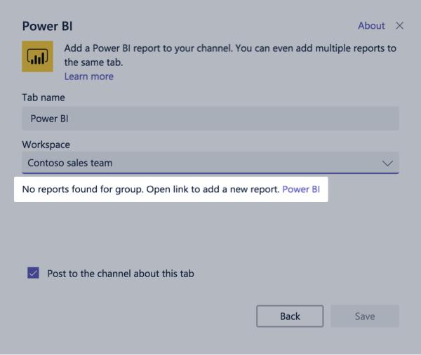 Dialogfeld für das PowerBI Registerkarte einrichten