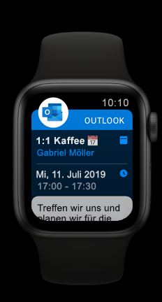 Apple Watch mit anstehendem Outlook-Kalendertermin