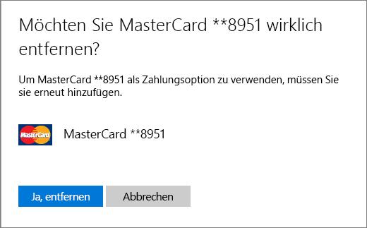 Bestätigungsseite beim Entfernen einer Kreditkarte