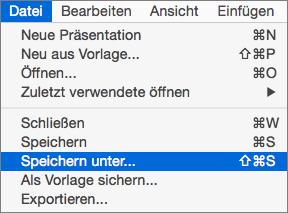 """Zeigt das Menü """"Datei > Speichern unter"""" in PowerPoint 2016 für Mac"""