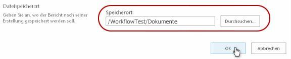 Klicken auf 'OK' für den Dateispeicherort