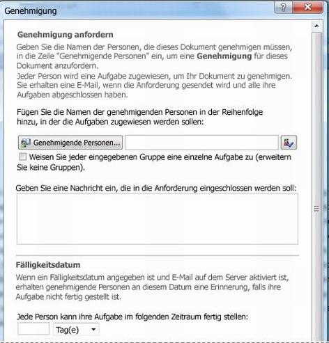 Initiierungsformular für Workflows – Genehmigungsworkflow