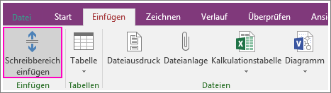 """Screenshot der Schaltfläche """"Schreibbereich einfügen"""" in OneNote 2016"""