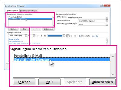 ändern Einer E Mail Signatur Outlook