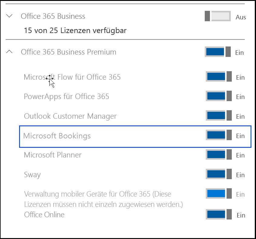 """Die Bildschirmaufnahme zeigt die Einstellung """"Microsoft Bookings"""", die in den Produktlizenzen des Benutzers deaktiviert werden muss."""