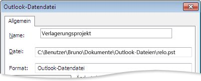 Dialogfeld 'Outlook-Datendatei'
