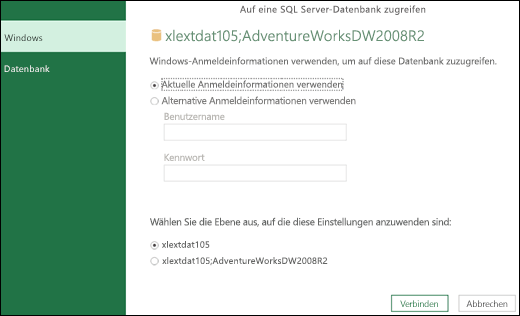 Power Query – Option zum Festlegen von Anmeldeinformationen auf Serverebene