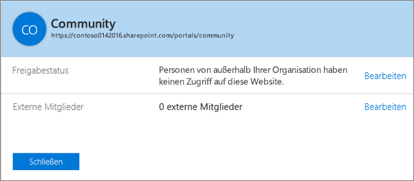 """Dialogfeld """"Freigabestatus"""" für eine bestimmte Websitesammlung mit deaktivierter Freigabe."""