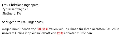 """Im Dokument mit den Seriendruckergebnissen wird """"Ihr Beitrag in Höhe von € 50,00"""" und """"bieten wir Ihnen einen Rabatt von 20%"""" angezeigt."""