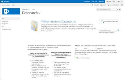 Websitevorlage für Datenarchiv