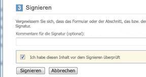 Dialogfeld 'Signieren' mit angezeigtem Kontrollkästchen und Schaltfläche 'Signieren'