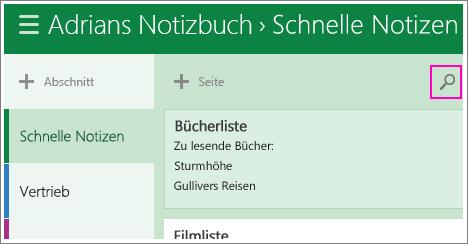 OneNote-Suchfeld